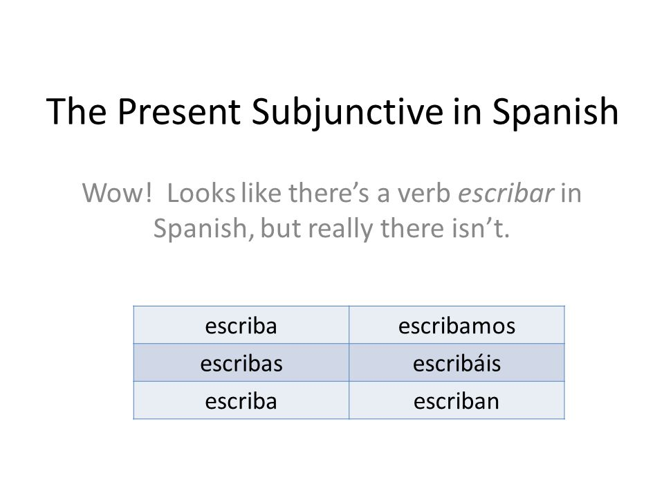 The Present Subjunctive in Spanish Wow! Looks like there's a verb escribar in Spanish, but really there isn't. escribaescribamos escribasescribáis esc