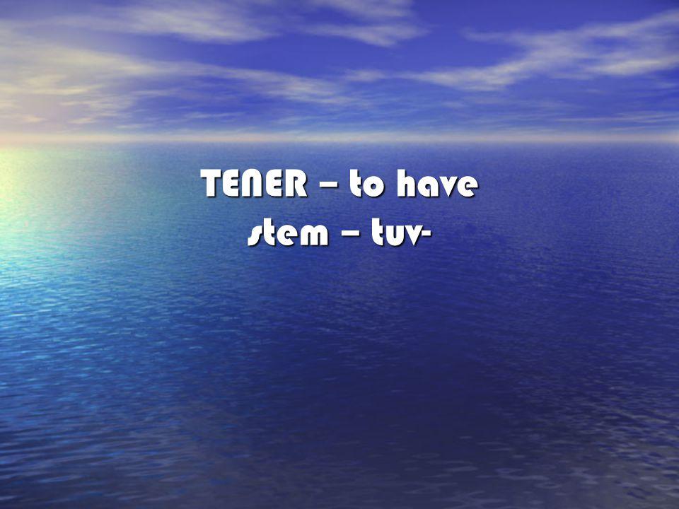 TENER – to have stem – tuv-