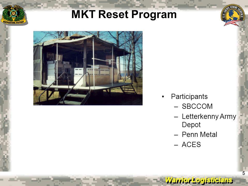 Warrior Logisticians 5 MKT Reset Program Participants –SBCCOM –Letterkenny Army Depot –Penn Metal –ACES