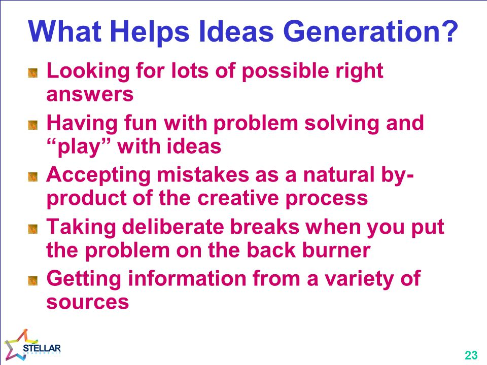 """23 What Helps Ideas Generation? Looking for lots of possible right answers Having fun with problem solving and """"play"""" with ideas Accepting mistakes as"""