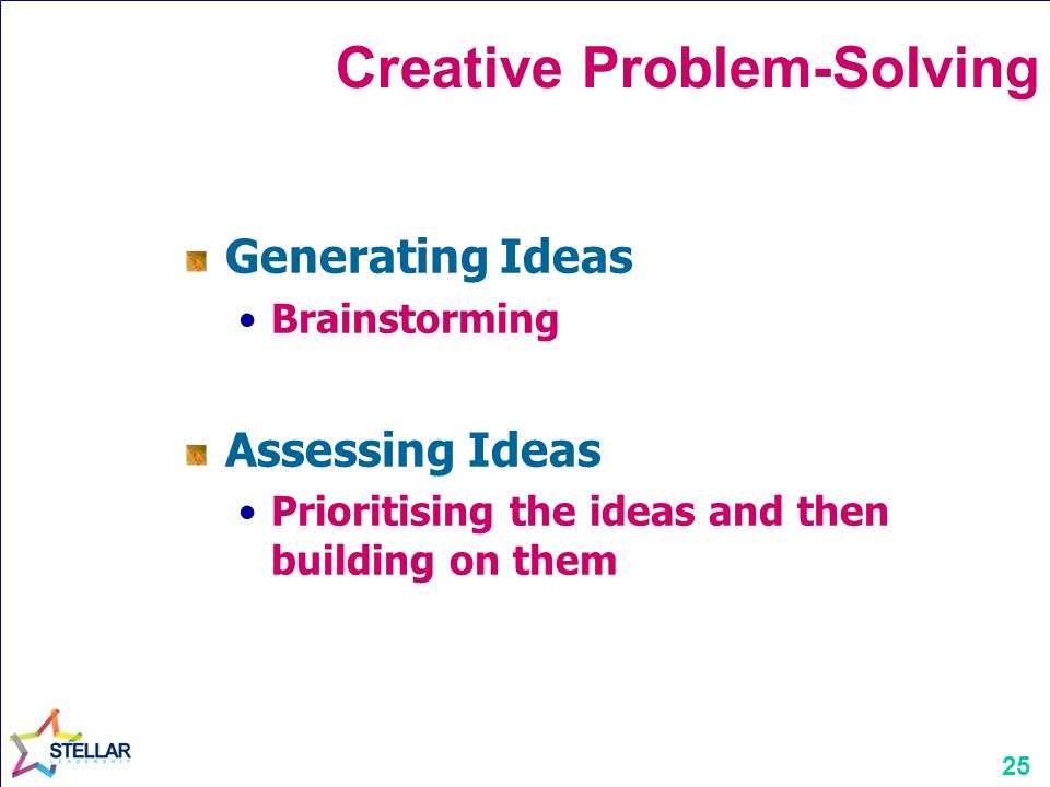 25 Creative Problem-Solving Generating Ideas Brainstorming Assessing Ideas Prioritising the ideas and then building on them