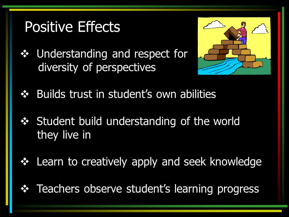  Understanding and respect for diversity of perspectives  Builds trust in student's own abilities  Student build understanding of the world they live in  Learn to creatively apply and seek knowledge  Teachers observe student's learning progress Positive Effects