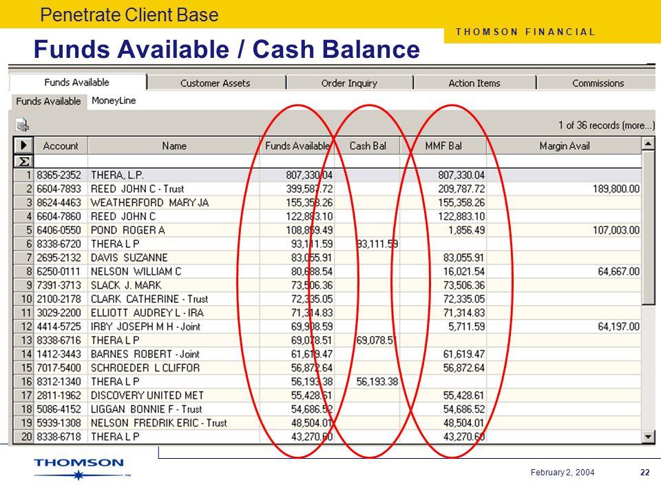 T H O M S O N F I N A N C I A L February 2, 200422 Funds Available / Cash Balance Penetrate Client Base