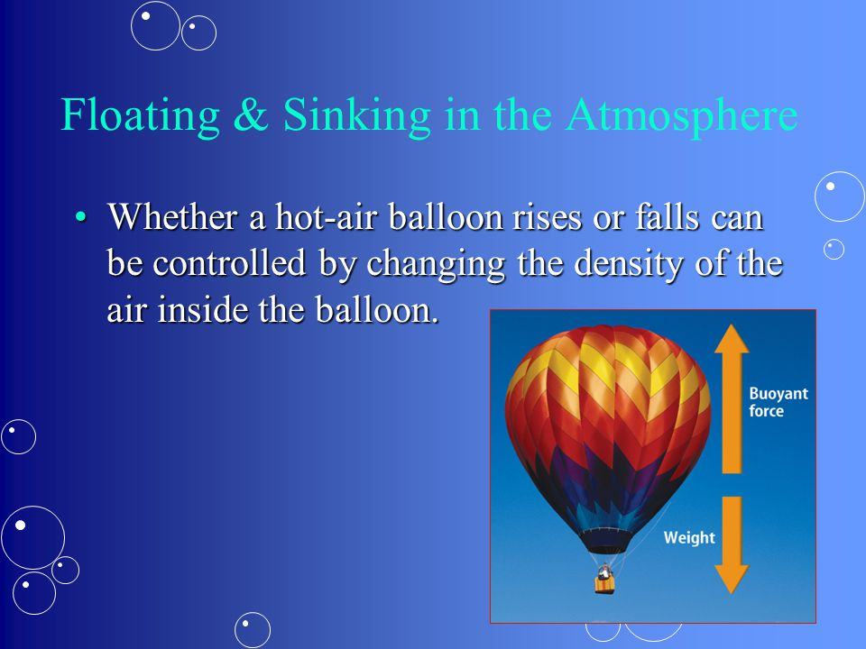 Floating & Sinking in the Atmosphere Whether a hot-air balloon rises or falls can be controlled by changing the density of the air inside the balloon.