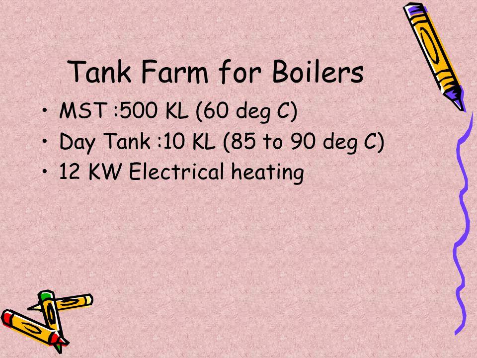 Tank Farm for Boilers MST :500 KL (60 deg C) Day Tank :10 KL (85 to 90 deg C) 12 KW Electrical heating
