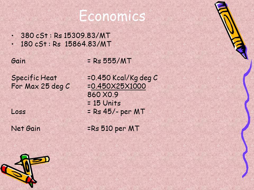 Economics 380 cSt : Rs 15309.83/MT 180 cSt : Rs 15864.83/MT Gain = Rs 555/MT Specific Heat =0.450 Kcal/Kg deg C For Max 25 deg C=0.450X25X1000 860 X0.