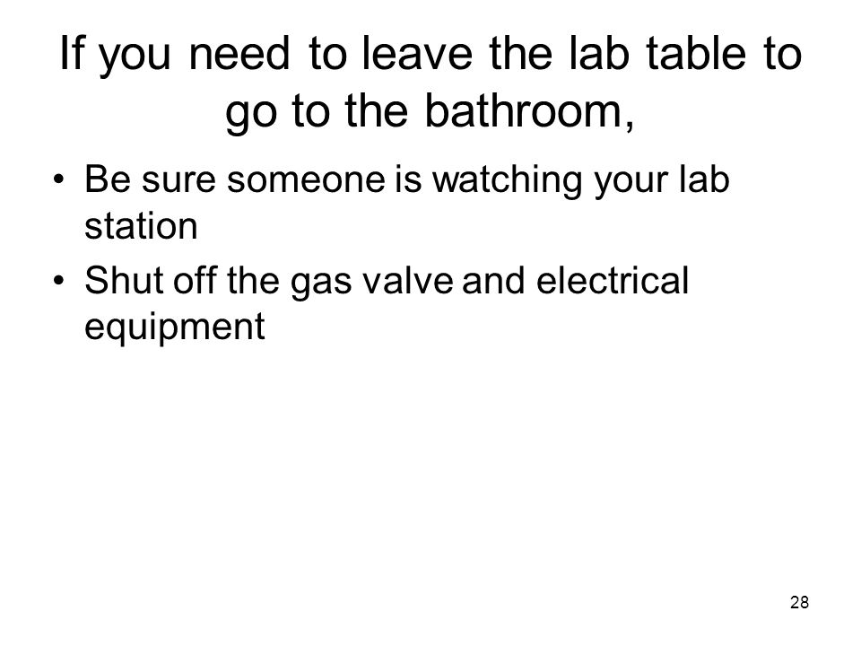 If you need to leave the lab table to go to the bathroom, Be sure someone is watching your lab station Shut off the gas valve and electrical equipment 28