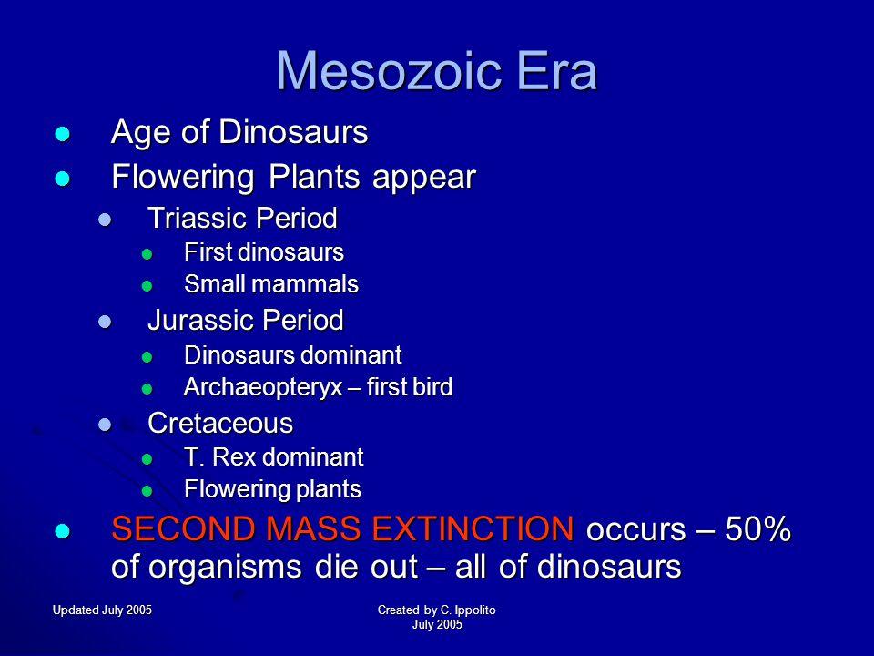 Updated July 2005Created by C. Ippolito July 2005 Paleozoic Era Rapid evolution of marine life Rapid evolution of marine life Cambrian Period Cambrian