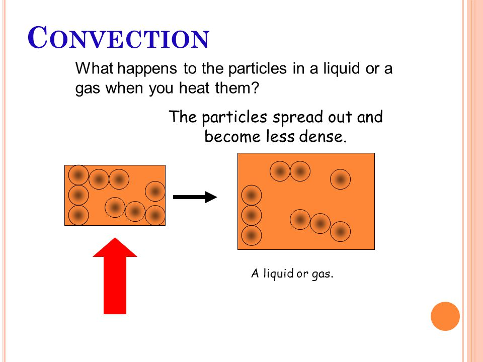 C ONVECTION What happens to the particles in a liquid or a gas when you heat them.