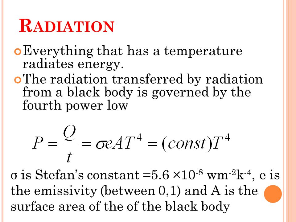 R ADIATION Everything that has a temperature radiates energy.