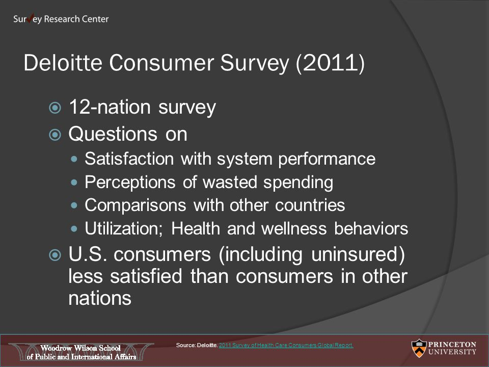 Deloitte Consumer Survey (2011)  12-nation survey  Questions on Satisfaction with system performance Perceptions of wasted spending Comparisons with other countries Utilization; Health and wellness behaviors  U.S.