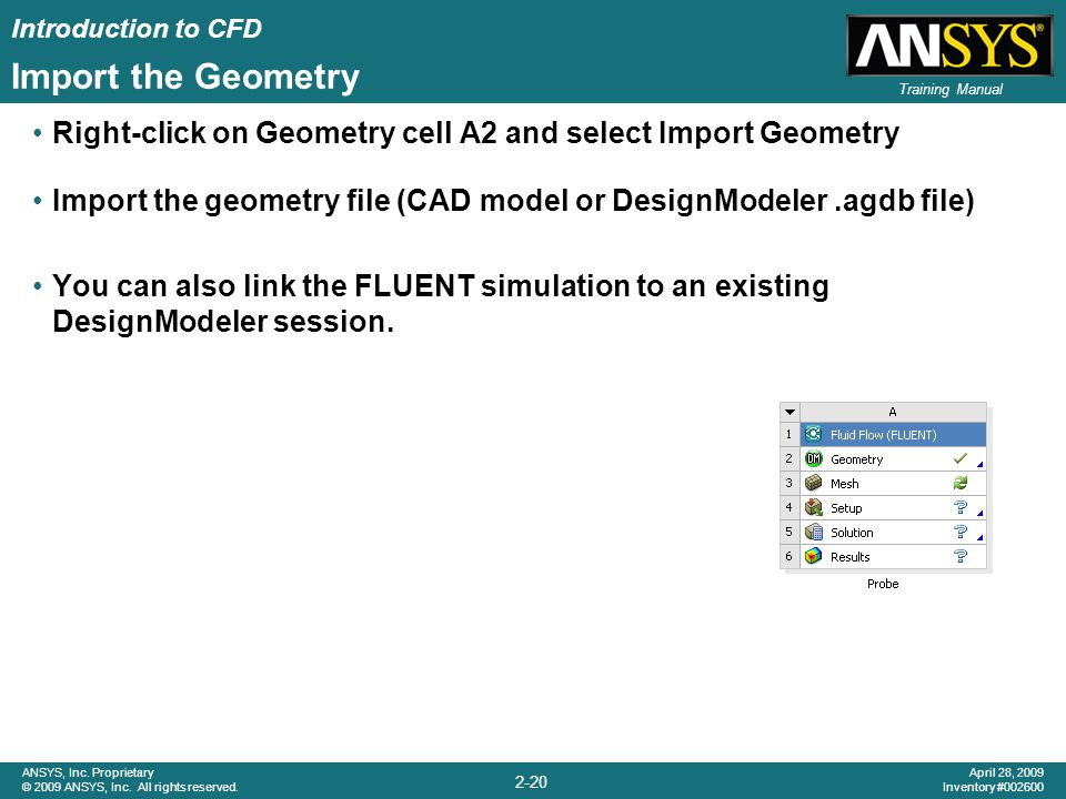 Introduction to CFD 2-20 ANSYS, Inc. Proprietary © 2009 ANSYS, Inc. All rights reserved. April 28, 2009 Inventory #002600 Training Manual Import the G