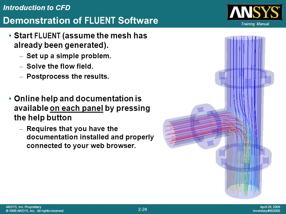 Introduction to CFD 2-24 ANSYS, Inc. Proprietary © 2009 ANSYS, Inc. All rights reserved. April 28, 2009 Inventory #002600 Training Manual Demonstratio