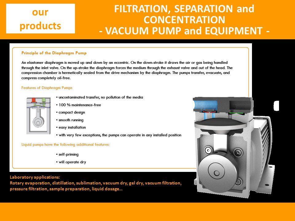 FILTRATION, SEPARATION and CONCENTRATION - VACUUM PUMP and EQUIPMENT - our products Laboratory applications: Rotary evaporation, distillation, sublimation, vacuum dry, gel dry, vacuum filtration, pressure filtration, sample preparation, liquid dosage…