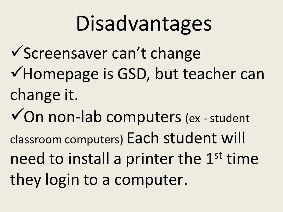Screensaver can't change Homepage is GSD, but teacher can change it.