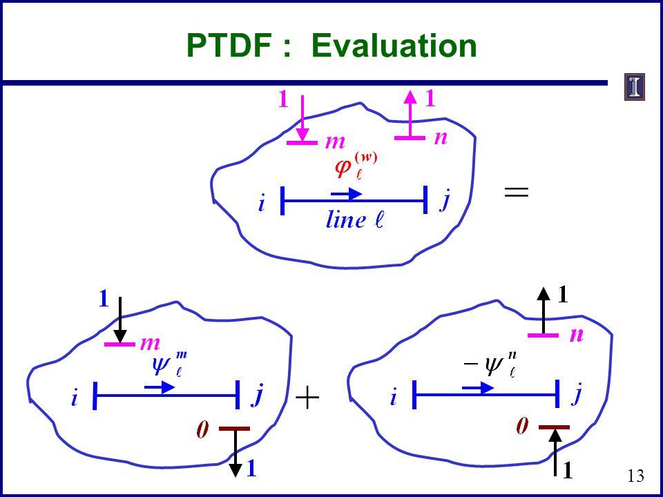 PTDF : Evaluation = + 13