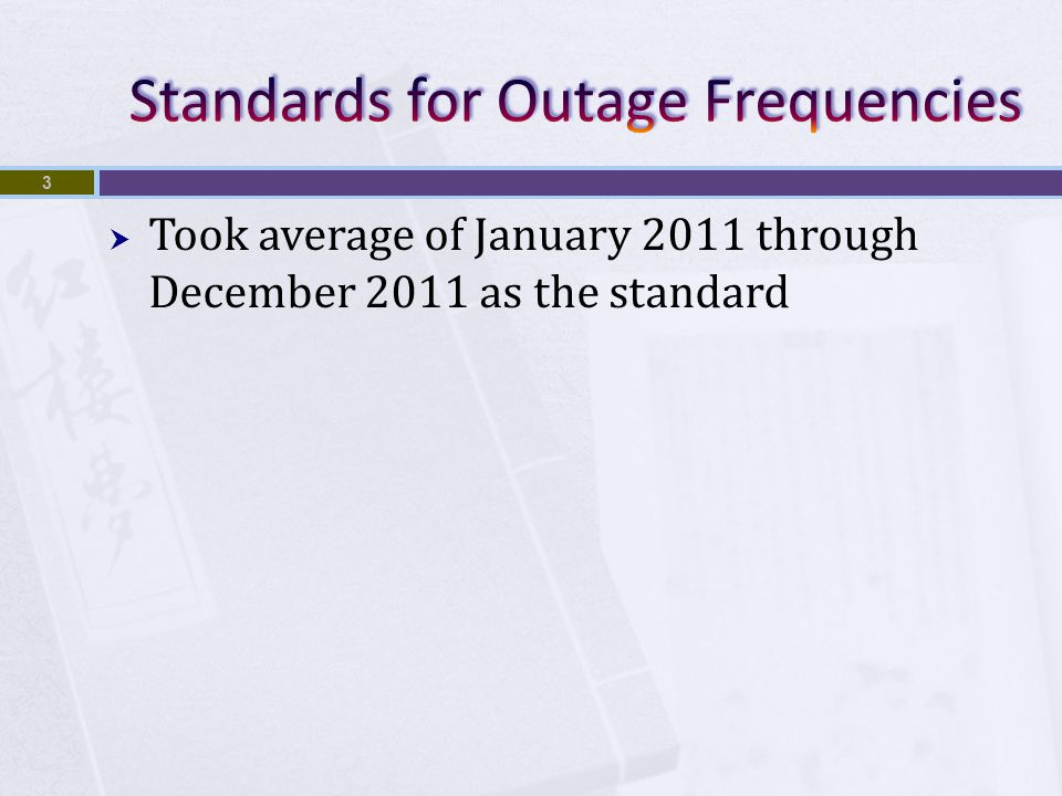  Took average of January 2011 through December 2011 as the standard 3