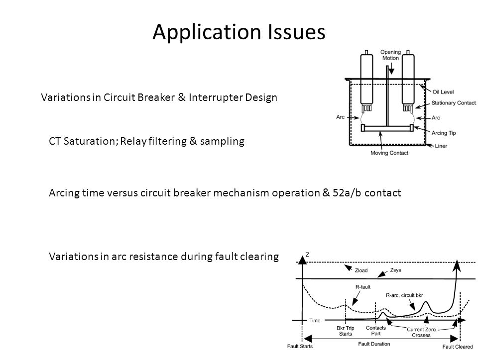 Application Issues Variations in Circuit Breaker & Interrupter Design CT Saturation; Relay filtering & sampling Arcing time versus circuit breaker mechanism operation & 52a/b contact Variations in arc resistance during fault clearing