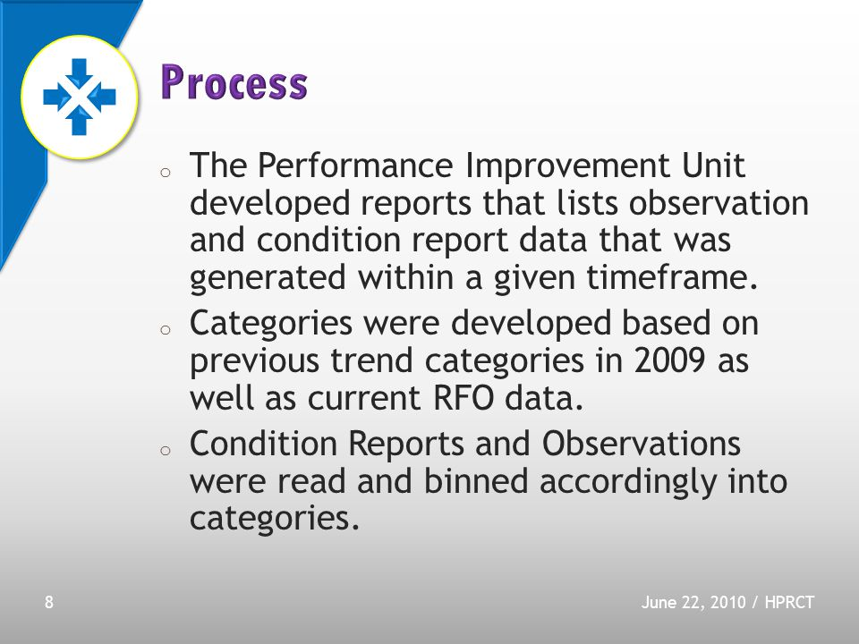o The Performance Improvement Unit developed reports that lists observation and condition report data that was generated within a given timeframe.