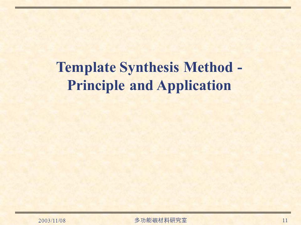 2003/11/08 多功能碳材料研究室 11 Template Synthesis Method - Principle and Application