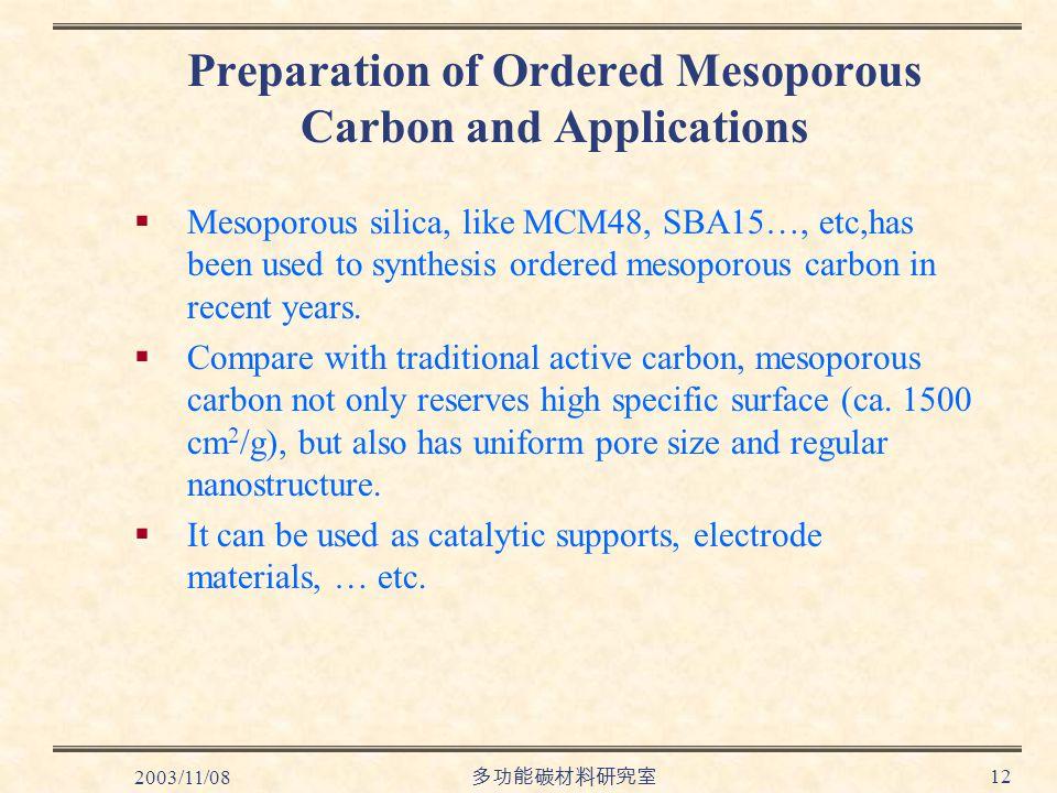 2003/11/08 多功能碳材料研究室 12 Preparation of Ordered Mesoporous Carbon and Applications  Mesoporous silica, like MCM48, SBA15…, etc,has been used to synthesis ordered mesoporous carbon in recent years.