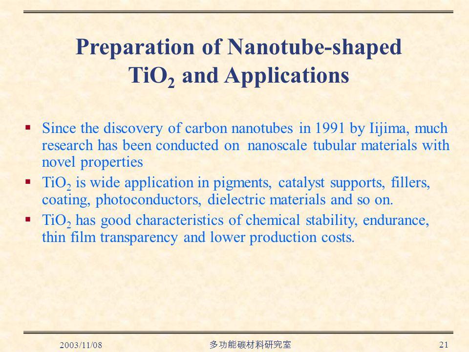 2003/11/08 多功能碳材料研究室 21 Preparation of Nanotube-shaped TiO 2 and Applications  Since the discovery of carbon nanotubes in 1991 by Iijima, much research has been conducted on nanoscale tubular materials with novel properties  TiO 2 is wide application in pigments, catalyst supports, fillers, coating, photoconductors, dielectric materials and so on.