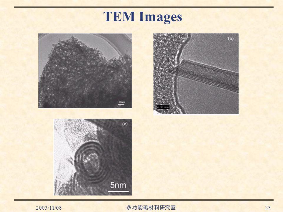 2003/11/08 多功能碳材料研究室 23 TEM Images
