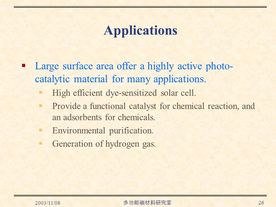 2003/11/08 多功能碳材料研究室 26 Applications  Large surface area offer a highly active photo- catalytic material for many applications.