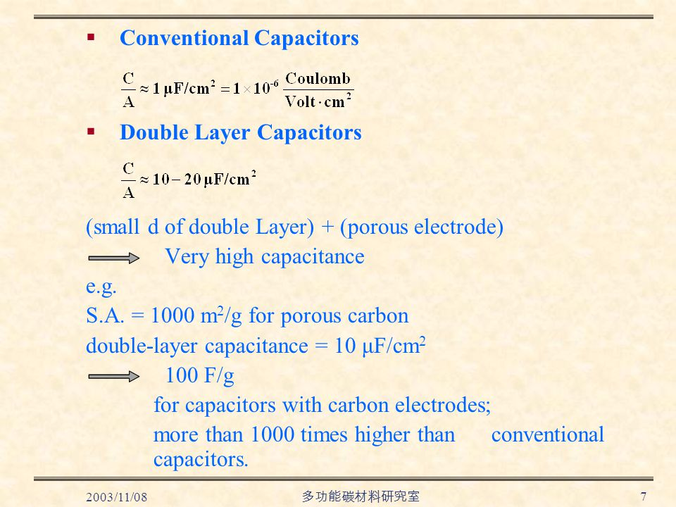 2003/11/08 多功能碳材料研究室 7  Conventional Capacitors  Double Layer Capacitors (small d of double Layer) + (porous electrode) Very high capacitance e.g.