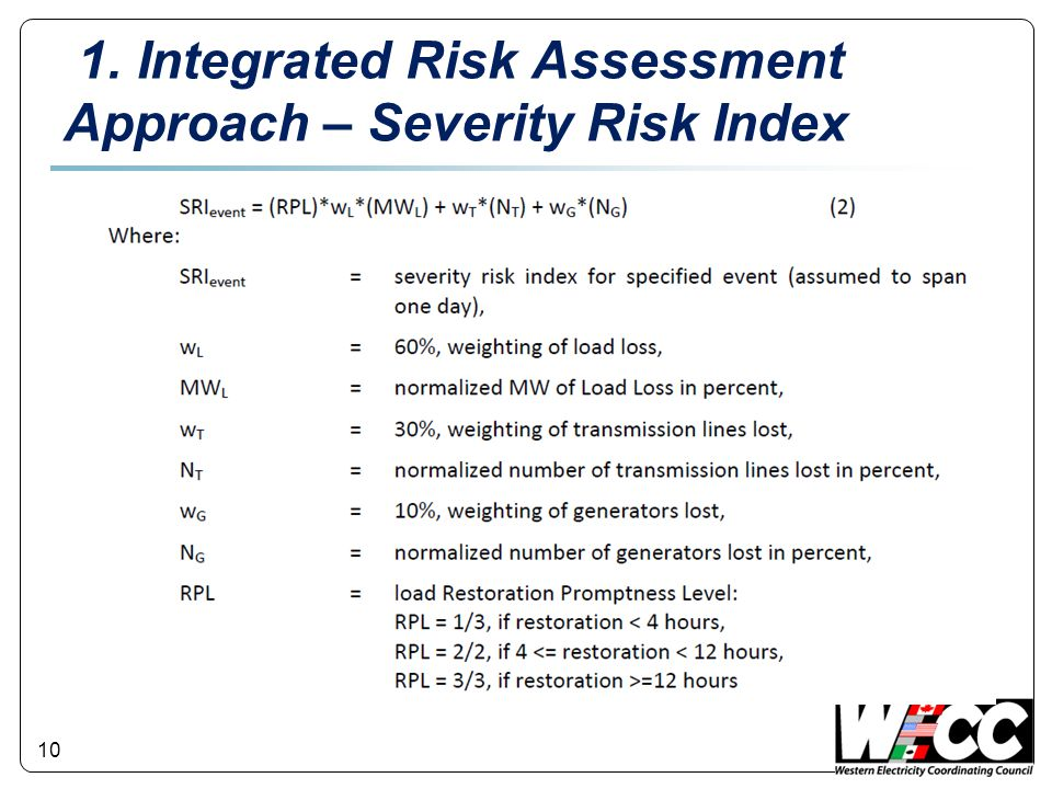 10 1. Integrated Risk Assessment Approach – Severity Risk Index