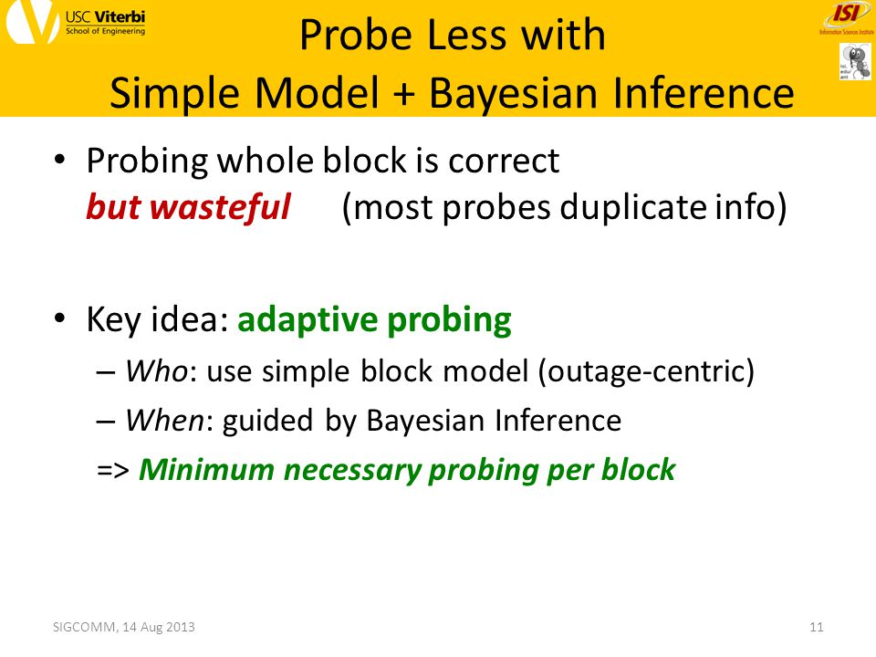 Probing whole block is correct but wasteful (most probes duplicate info) Key idea: adaptive probing – Who: use simple block model (outage-centric) – When: guided by Bayesian Inference => Minimum necessary probing per block 11SIGCOMM, 14 Aug 2013 Probe Less with Simple Model + Bayesian Inference