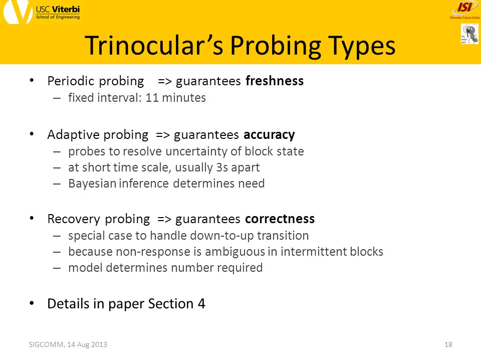 Trinocular's Probing Types Periodic probing => guarantees freshness – fixed interval: 11 minutes Adaptive probing => guarantees accuracy – probes to resolve uncertainty of block state – at short time scale, usually 3s apart – Bayesian inference determines need Recovery probing => guarantees correctness – special case to handle down-to-up transition – because non-response is ambiguous in intermittent blocks – model determines number required Details in paper Section 4 18SIGCOMM, 14 Aug 2013