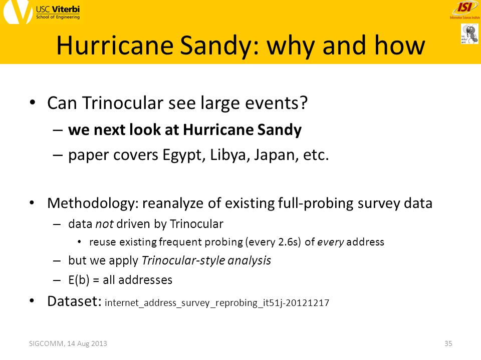 Hurricane Sandy: why and how SIGCOMM, 14 Aug 201335 Can Trinocular see large events.
