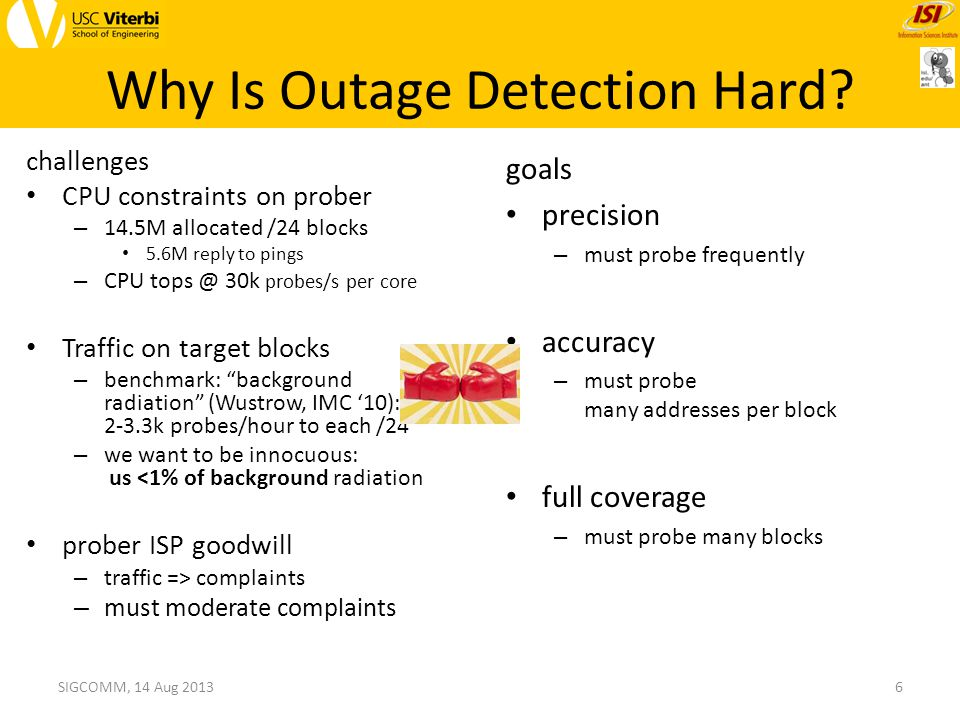 Trinocular Trinocular: active ping probes to study reliability in Internet edge – principled: probe only when needed (informed by Bayesian inference) model who will reply, and how likely – precise: outage duration ±330s (half of probing interval) – parsimonious: only +0.7% background radiation (at target /24, per Trinocular instance) 7SIGCOMM, 14 Aug 2013