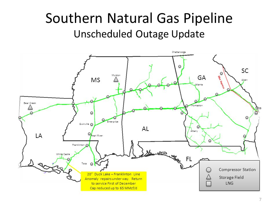Southern Natural Gas Pipeline Unscheduled Outage Update LA MS AL GA FL Enterprise White Castle Bear Creek Muldon Chattanooga Atlanta Thomaston Albany Elba SC Aiken Elba Express 7 Compressor Station Storage Field LNG Compressor Station Storage Field LNG Pearl River Franklinton Gwinville 20 Duck Lake – Franklinton Line Anomaly repairs under way.