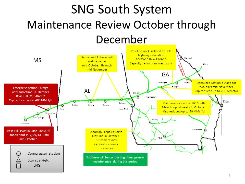 SNG South Louisiana System Maintenance Review October through December Shadyside White Castle Franklinton Toca Gwinville LA MS Compressor Station Storage Field Compressor Station Storage Field West Leg East Leg 10 Pearl River Southern will be conducting other general maintenance during this period 20 Duck Lake – Franklinton Line Anomaly repairs continue.