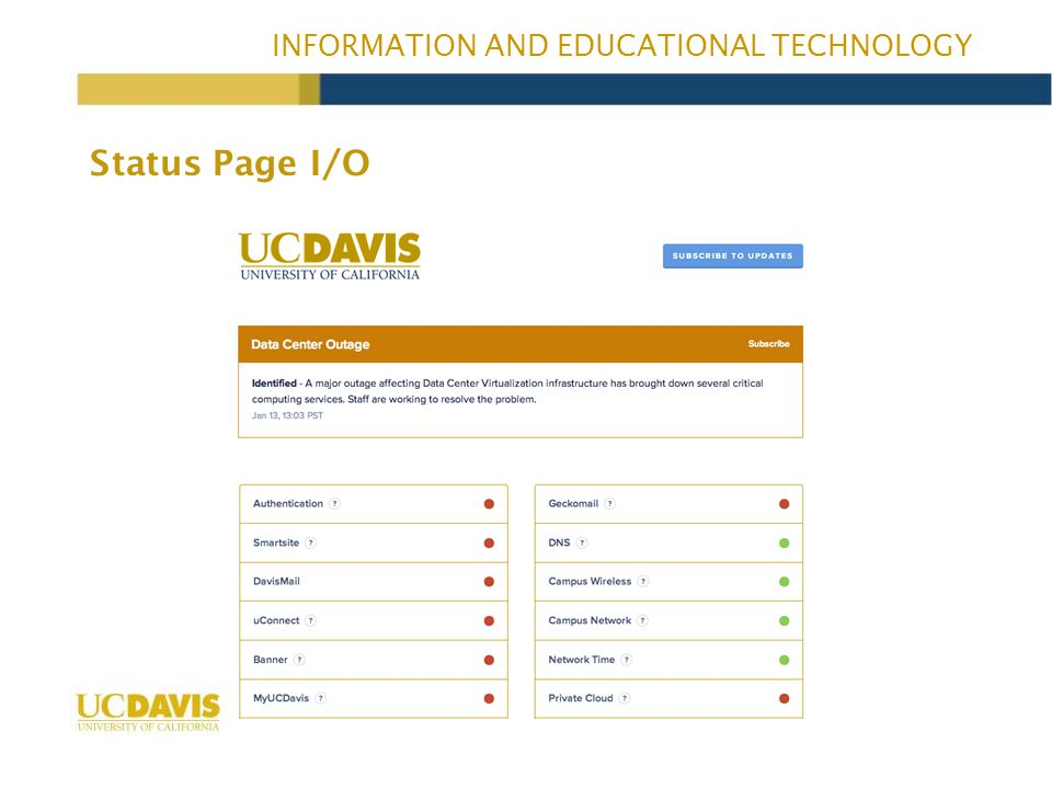 INFORMATION AND EDUCATIONAL TECHNOLOGY Status Page I/O