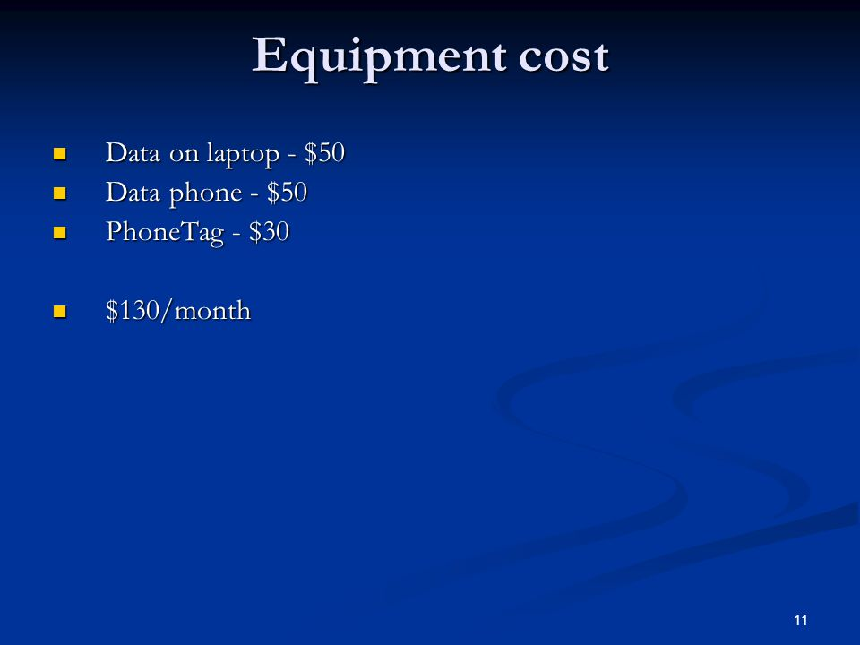 Equipment cost Data on laptop - $50 Data on laptop - $50 Data phone - $50 Data phone - $50 PhoneTag - $30 PhoneTag - $30 $130/month $130/month 11
