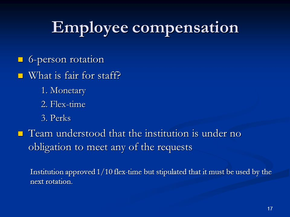 Employee compensation 6-person rotation 6-person rotation What is fair for staff.