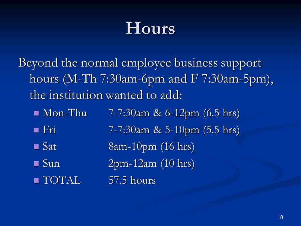 Hours Beyond the normal employee business support hours (M-Th 7:30am-6pm and F 7:30am-5pm), the institution wanted to add: Mon-Thu 7-7:30am & 6-12pm (