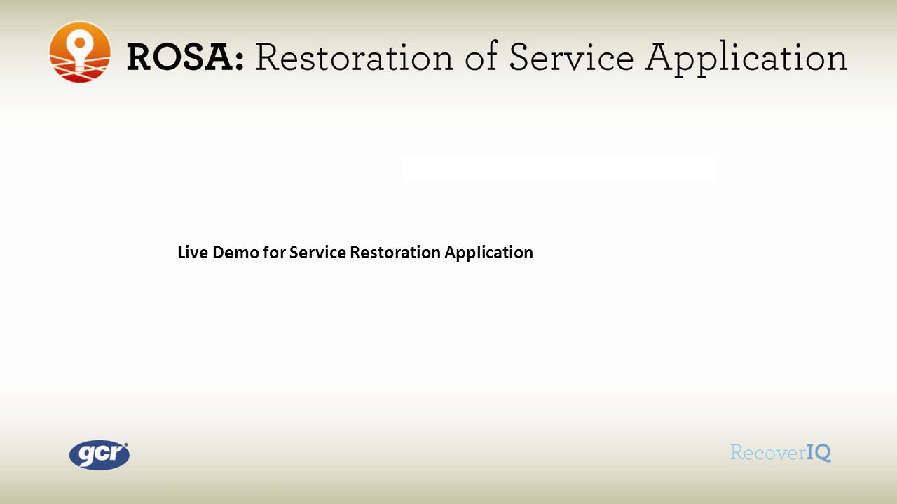 Live Demo for Service Restoration Application