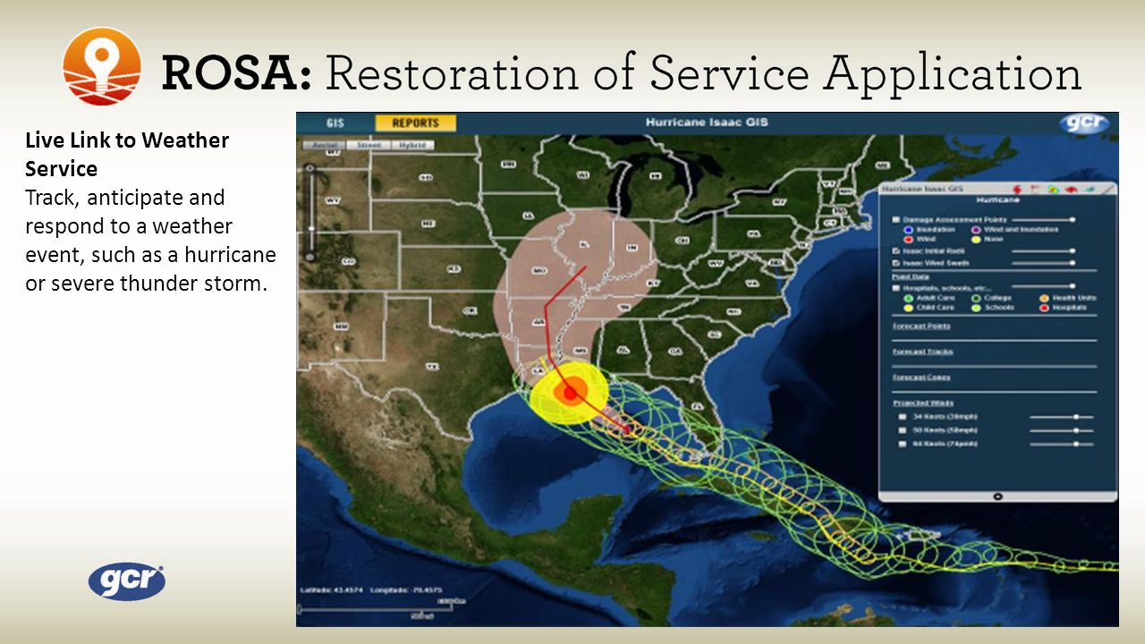 Live Link to Weather Service Track, anticipate and respond to a weather event, such as a hurricane or severe thunder storm.