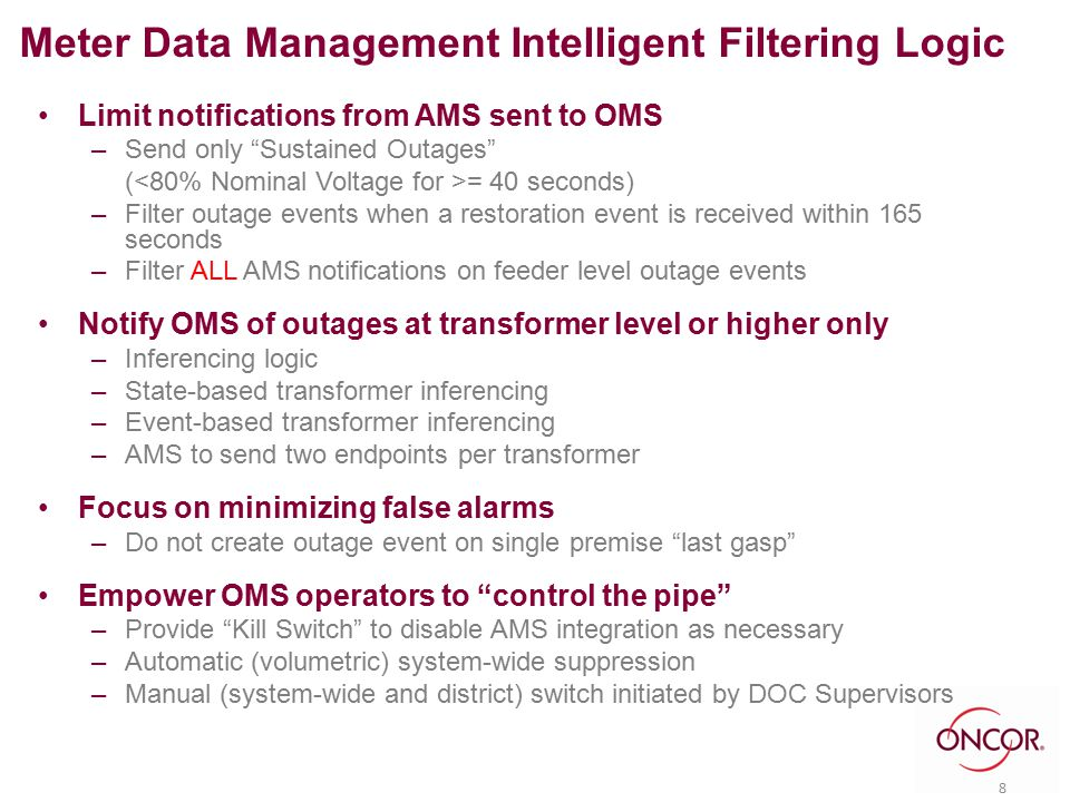 "Limit notifications from AMS sent to OMS –Send only ""Sustained Outages"" ( = 40 seconds) –Filter outage events when a restoration event is received wit"