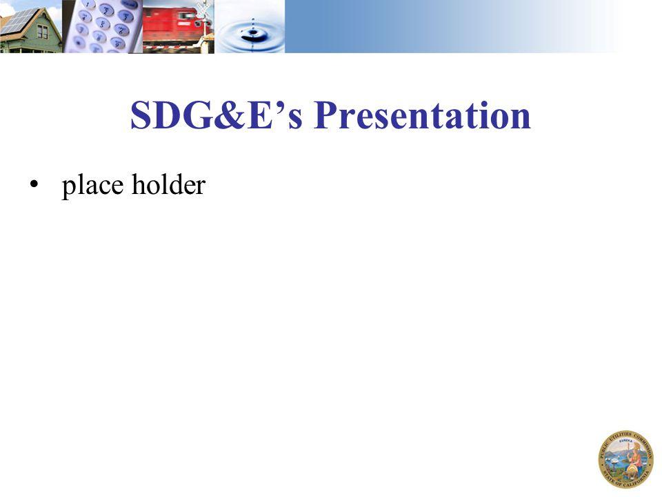 SDG&E's Presentation place holder