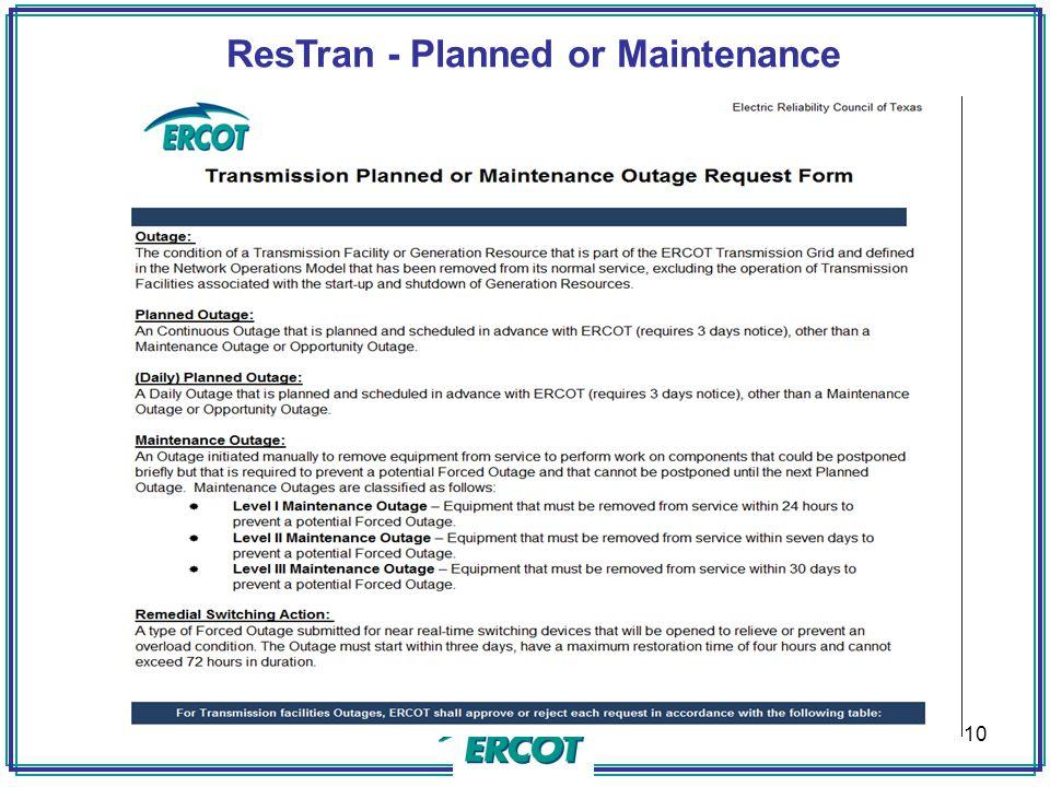 ResTran - Planned or Maintenance 10