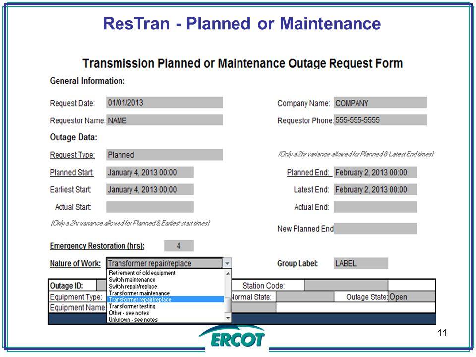 ResTran - Planned or Maintenance 11