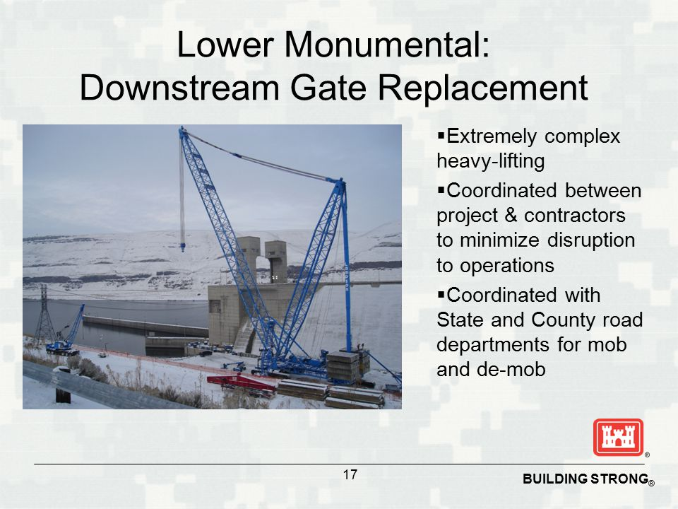 BUILDING STRONG ®  Extremely complex heavy-lifting  Coordinated between project & contractors to minimize disruption to operations  Coordinated with State and County road departments for mob and de-mob Lower Monumental: Downstream Gate Replacement 17