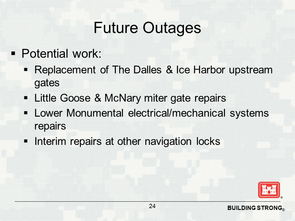 BUILDING STRONG ® Future Outages  Potential work:  Replacement of The Dalles & Ice Harbor upstream gates  Little Goose & McNary miter gate repairs  Lower Monumental electrical/mechanical systems repairs  Interim repairs at other navigation locks 24