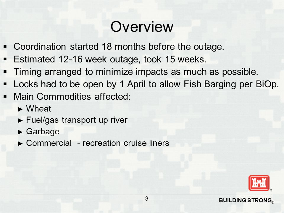 Overview  Coordination started 18 months before the outage.