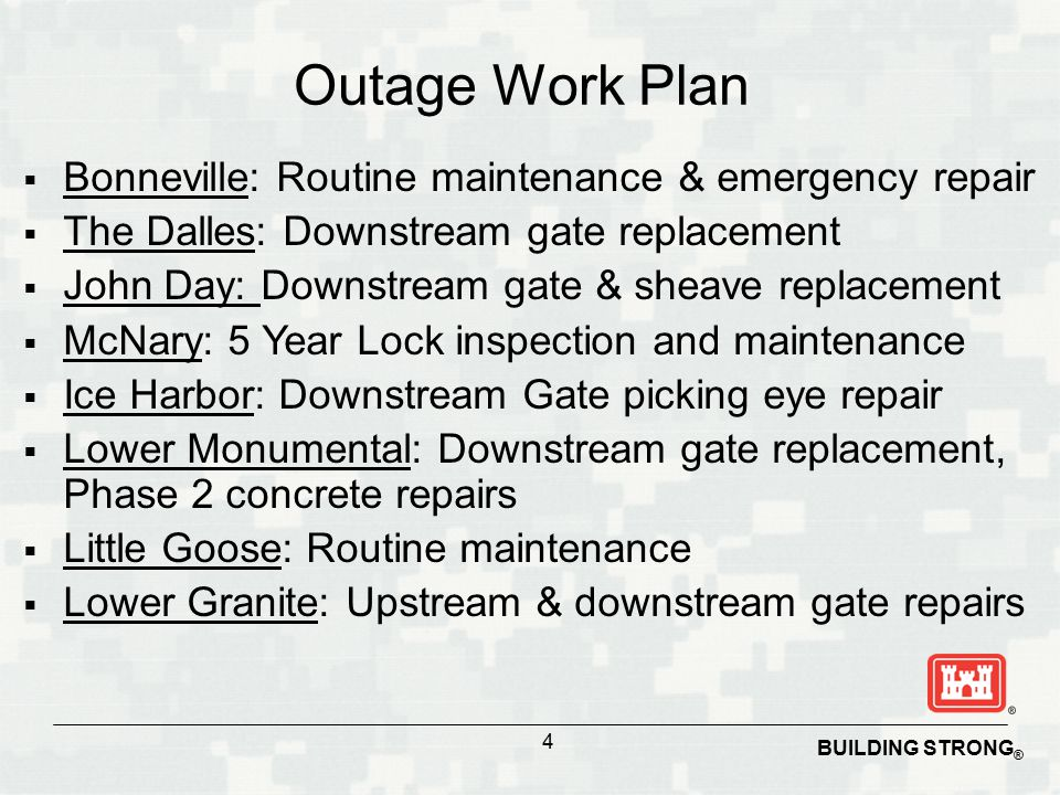 BUILDING STRONG ® Outage Work Plan  Bonneville: Routine maintenance & emergency repair  The Dalles: Downstream gate replacement  John Day: Downstream gate & sheave replacement  McNary: 5 Year Lock inspection and maintenance  Ice Harbor: Downstream Gate picking eye repair  Lower Monumental: Downstream gate replacement, Phase 2 concrete repairs  Little Goose: Routine maintenance  Lower Granite: Upstream & downstream gate repairs 4